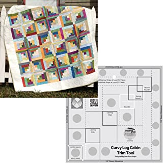 Bundle of Creative Grids Curvy Log Cabin Trim Tool 8in Finished Blocks and Cut Loose Press Carousel Curvy Log Cabin Quilt Pattern