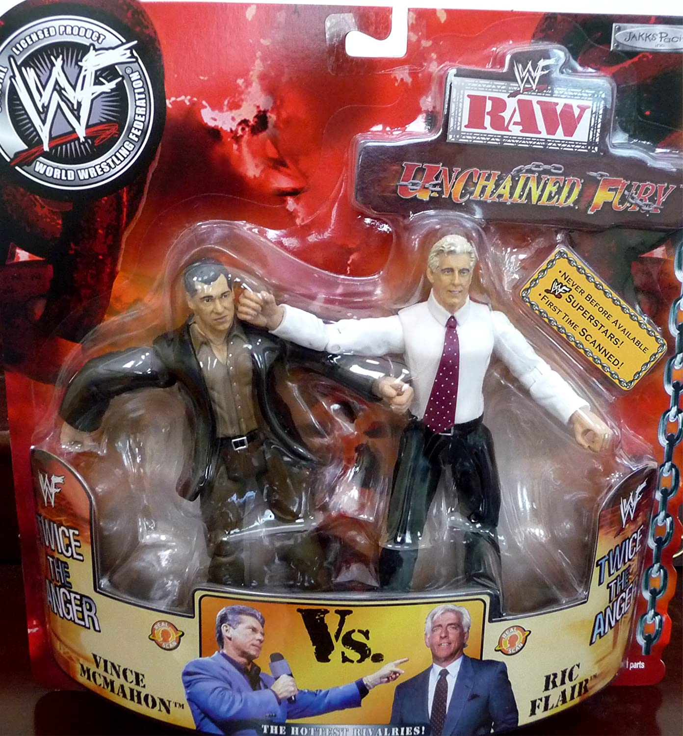 RIC FLAIR vs. MR. VINCE MCMAHON WWE WWF Raw Unchained Fury Figures by Jakks