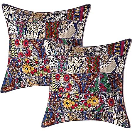 Stylo Culture Indien Décoratif Coton Housses De Coussin 60x60 cm Bleu Indiennes Patchwork 24 x 24 Pouces Décoration De Maison Lot De 2 Abstrait Carré Taies d'oreiller