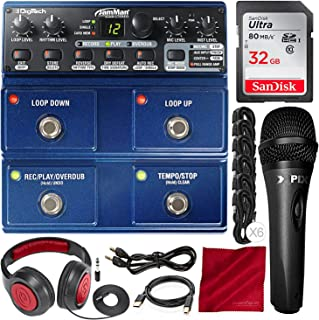 Digitech JamMan Stereo Looper Delay Pedal with 32GB, Xpix Condenser Microphone, Samson Closed-Back Headphones, and Accessory Bundle