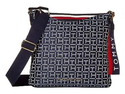 Tommy Hilfiger Walker Jacquard Crossbody (Navy/White) Cross Body Handbags