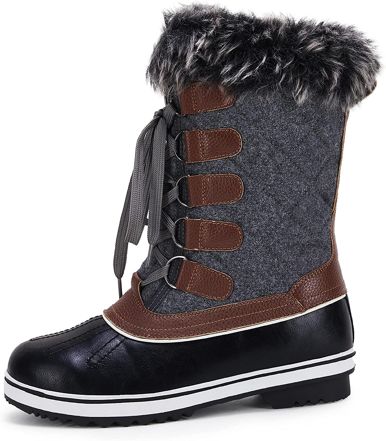 LAICIGO Women's Mid-Calf Snow Boots Faux Fur Lace-up Waterproof Insulated Quilted Mesh Winter Warm Boots