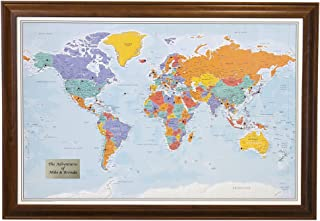 Personalized Push Pin World Travel Map with Brown Frame and Pins - Blue Oceans 24 x 36