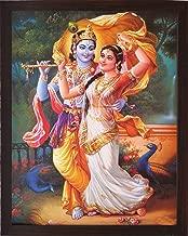 Handicraftstore Hindu God Radha Krishna Wall Hanging Poster Painting/Lord Krishna Home Decorative Photo Picture with Wooden Frame/Hindu Deity Gopala Krishna Portrait-Religious Art Gift-Water Proof