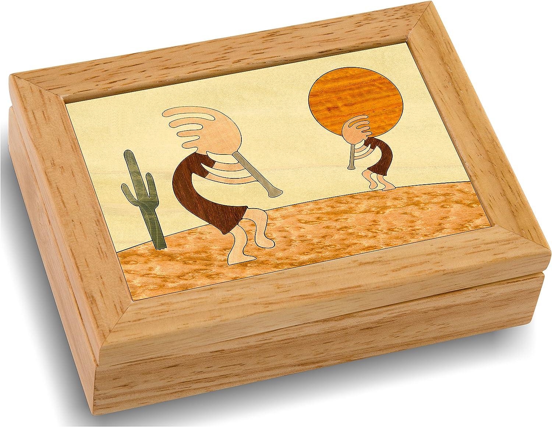 Kokopelli Wood Art Trinket, Jewelry Box & Gift - Handmade USA - Unmatched Quality - Unique, No Two are the Same - Original Work of Wood Art. (#4113 Kokopeli 4x5x1.5)