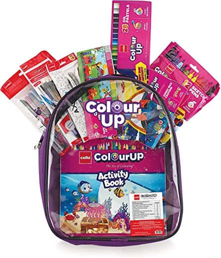 Cello ColourUP Hobby Bag for Kids | Drawing Kit | Stationery Kit | Best for Gifting | Oil Pastel (25 Units) | Jumbo Wax Crayon (12 Units) | Free Activity Book | 8 Assorted Items | Celebration Kit