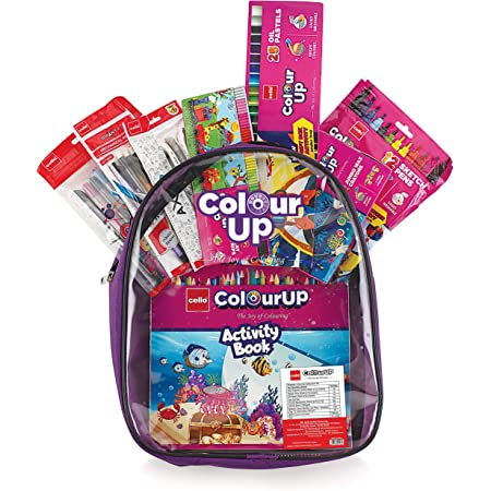 Cello ColourUp Crayons, Sketch Pens, Oil Pastel, Gel Pens, Mechanical Pencils, Clay Hobby Bag of Assorted Stationery for Kids and Art Lovers (CEL1011581)