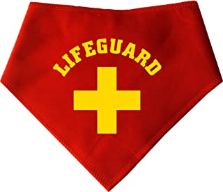 Spoilt Rotten Pets S2 Yellow Design Lifeguard, Small, Red Dog Bandana. for Beach Loving Dogs On Baywatch. Suitable for Shih-tzu, Westies, Terriers & Cockerpoo Sized Dogs
