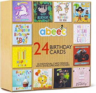 abeec Kids Birthday Cards Multipack - 24 Birthday Cards Containing: 12 x Birthday Cards for Him and 12 x Birthday Cards fo...