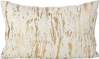 82a993e661ec SARO LIFESTYLE Distressed Metallic Foil Design Cotton Down Filled Throw  Pillow, 14
