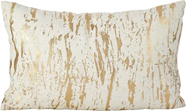 SARO LIFESTYLE Distressed Metallic Foil Design Cotton Down Filled Throw Pillow, 14 x 22, Gold