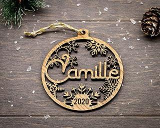 Boule premier noël personnalisée en bois avec année prénom et étui cadeau