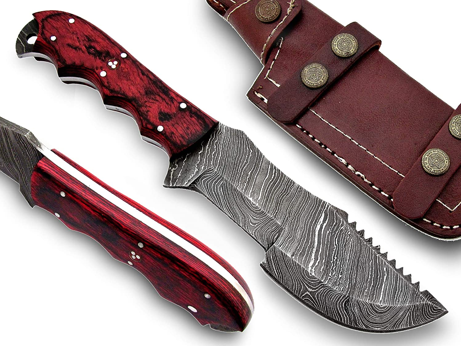 Poshland Tr-354, Handmade Damascus Steel 10 Inches Tactical Knife - Beautiful Canvas Micarta Handle
