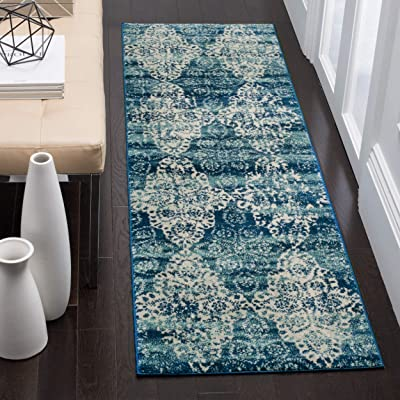 """Safavieh Evoke Collection EVK266F Royal Blue and Ivory Runner (2'2"""" x 7')"""