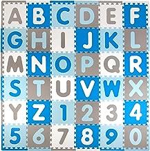 tadpoles abc 60 piece play mat in blue grey