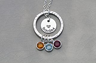 Eternity Necklace - Personalize Name, Birthstone Crystals - Handstamped 1/2 Inch Disc - Grandma Christmas Gift from Grandkids - DII ABC