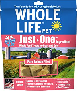 Whole Life Pet Products Single Ingredient USA Freeze Dried Salmon Value Pack for Dogs and Cats, 8 Oz