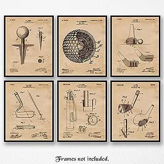 Original Golf Patent Poster Prints, Set of 6 (8x10) Unframed Photos, Great Wall Art Decor Gifts Under 20 for Home, Office, Studio, Garage, Man Cave, Shop, Student, Teacher, Coach, Sports & PGA Fan