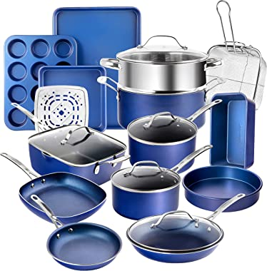 Granitestone Blue 20 Piece Pots and Pans Set, Complete Cookware & Bakeware Set with Ultra Nonstick Durable Mineral &
