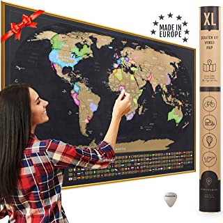 XL Scratch Off Map of The World with Flags - Made in Europe 35 x 23.5