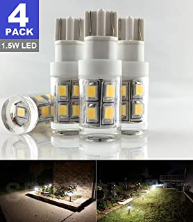 SRRB Direct 1.5W LED Replacement Landscape Pathway Light Bulb 12V AC/DC Wedge Base T5 T10 for Malibu Paradise Moonrays and More (4 Pack, Warm White)