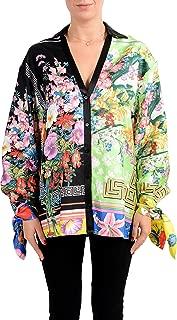 Versace Women's Multi-Color Floral Print 100% Silk Blouse Top US XL IT 46
