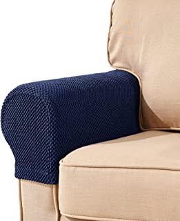 subrtex Spandex Stretch Fabric Armrest Covers Anti-Slip Furniture Protector Armchair Slipcovers for Recliner Sofa Set of 2(Blue Jacquard)