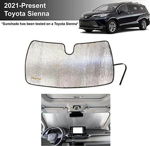YelloPro Custom Fit Front Windshield Reflective Sunshade for 2021 2022 Toyota Sienna Mini Van, Sun Shade Protector Accessories [Made in USA]