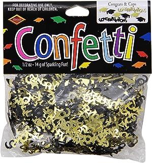 Beistle Congrats and Caps Confetti, 0.5 ounces, Black/Gold