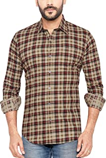 GLOBALRANG Men's Cotton Blue Casual Checks Shirt
