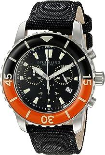 Stuhrling Original Men's 3267.01 Aquadiver Swiss Quartz Chronograph Date Black Watch