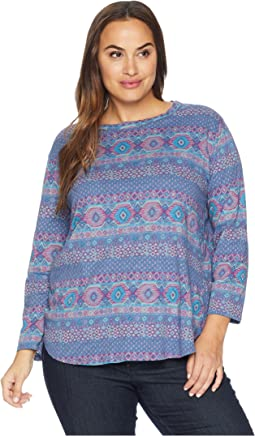 Plus Size Stamped Geo Catalina Top