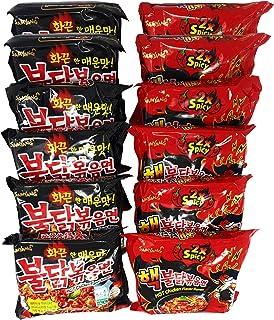 Korean Fire Noodle Set - Samyang Ramen scharfe Nudeln - 6 statt 5 Portionen pro Sorte 12x140g - Vorteilspack 12 Portionen