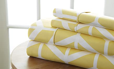 Simply Soft 4 Piece Sheet Set Arrow Patterned,  King,  Yellow