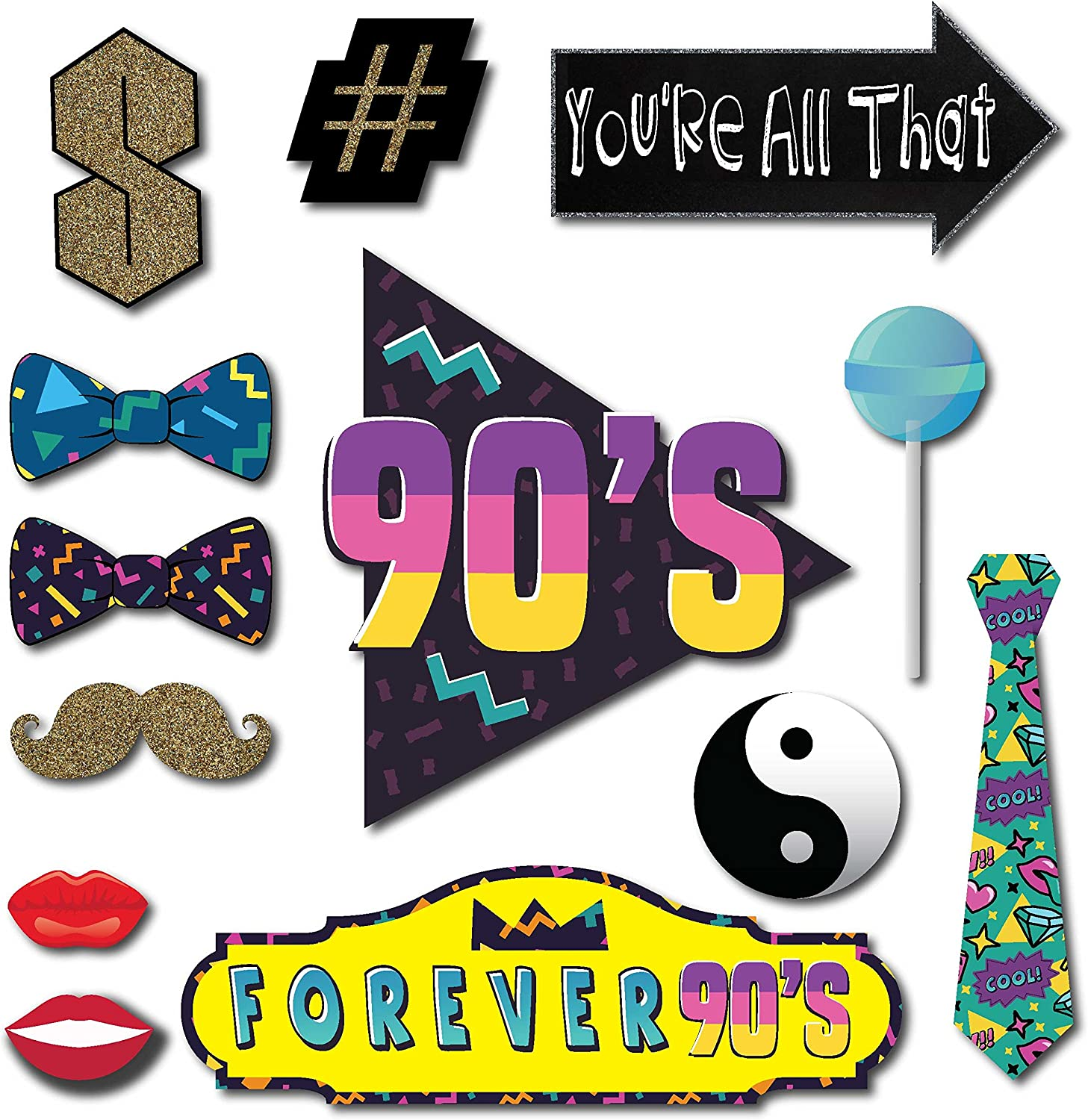 Amazon Com 90s Throwback 1990s Party Theme Photo Booth Props 41 Pieces With Wooden Sticks And Strike A Pose Sign By Outside The Booth Home Kitchen