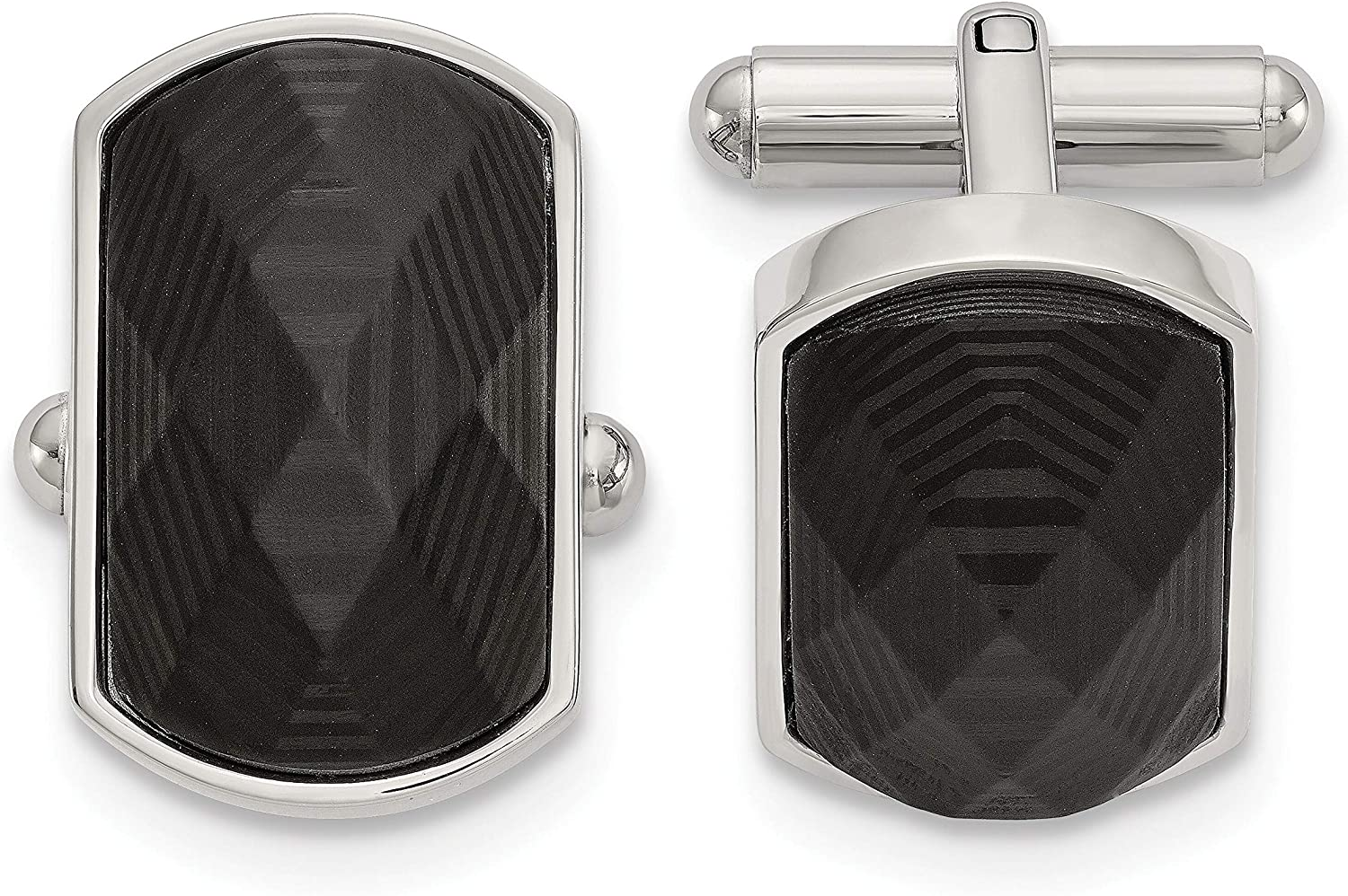 Stainless Steel Polished Solid Black Carbon Fiber Inlay Cuff Links Men's