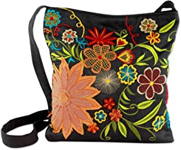NOVICA Multicolored Embroidered and Applique Cotton Blend Shoulder Bag, Tropical Paradise'