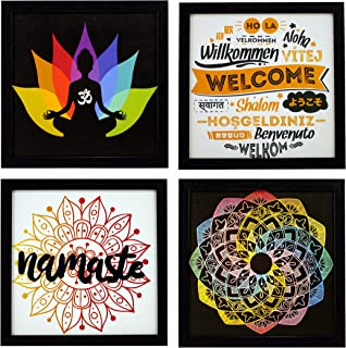 Indianara Set of 4 Framed Wall Hanging Welcome Namaste Home Decor Art Prints Without Glass (1495)