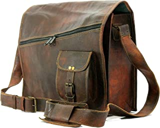 vintage handmade leather canvas messenger bag