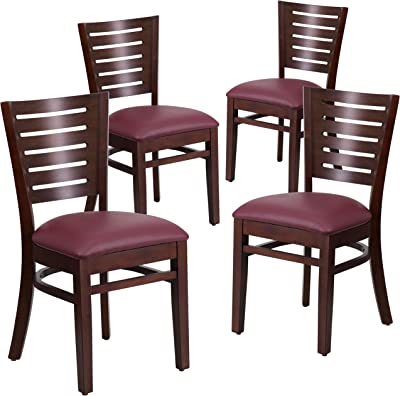 Flash Furniture 4 Pk. Darby Series Slat Back Walnut Wood Restaurant Chair - Burgundy Vinyl Seat