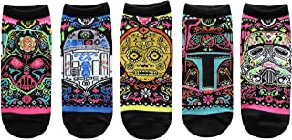 Star War, Star Wars Sugar Skull Ornate Juniors/Womens 5 Pack Ankle Socks Size 4-10