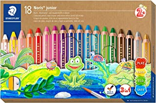 STAEDTLER Noris junior 3-in-1 colouring pencil pack of 18 assorted colours + sharpener