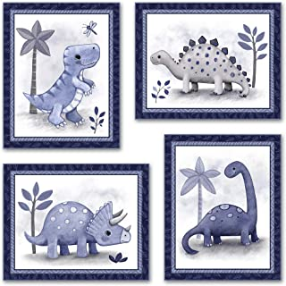 Set of Four Little Roar Dinosaur Nursery Art Prints (8