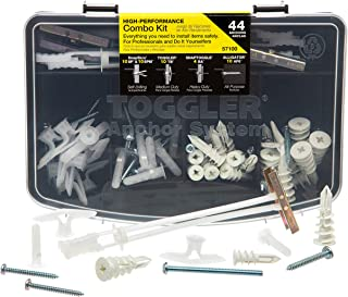 Toggler 44-Piece Combo Anchor Kit - Heavy Duty Industrial Drywall Mounting Toggle Screws & Bolts Assortment - Safe Concret...