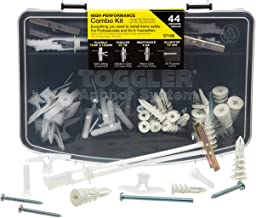Toggler 44-Piece Combo Anchor Kit - Heavy Duty Industrial Drywall Mounting Toggle Screws & Bolts Assortment - Safe Concrete Wall Anchoring for TV, Bike, Shelf Straps, Cabinet & Decoration