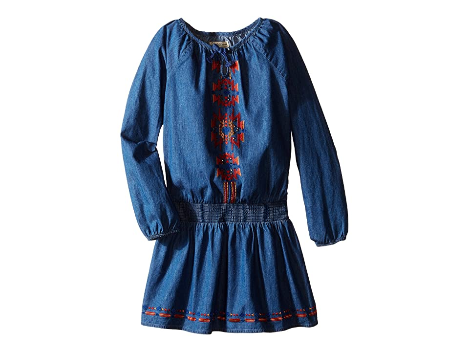 Lucky Brand Kids Chambray Peasant Dress with Embroidery (Little Kids) (Indigo) Girl