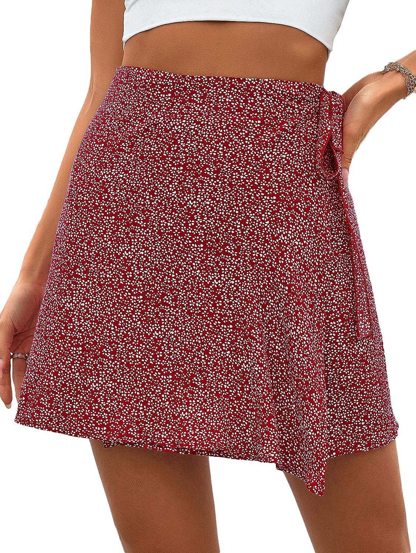 SheIn Women's Summer All Over Print Tie Side Wrap High Waist Short Mini Skirt