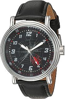 ساعة مارفل للرجال انالوج بعقارب كوارتز مع حزام جلد صناعي، اسود، 21.2 - WMA000267