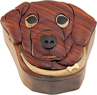 Dog - Wooden Puzzle Box - Handcrafted with hidden compartment