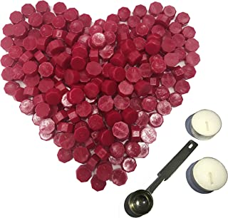 Wine Red Sealing Wax Beads, Botokon 150 Pieces Octagon Wax Seal Beads Kit with a Wax Melting Spoon and 2 Pieces Candles for Wax Seal Stamp